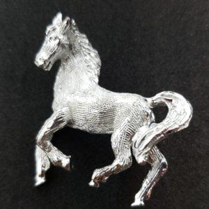 Brushed silver galloping  Horse figure brooch